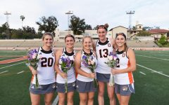 Sabin (center) is pictured with some of her fellow teammates at Occidental College. She played four years of lacrosse in college and is excited to share the lessons she has learned through her time as a player and her visions for the upcoming season this Spring with the rest of the LAHS team.