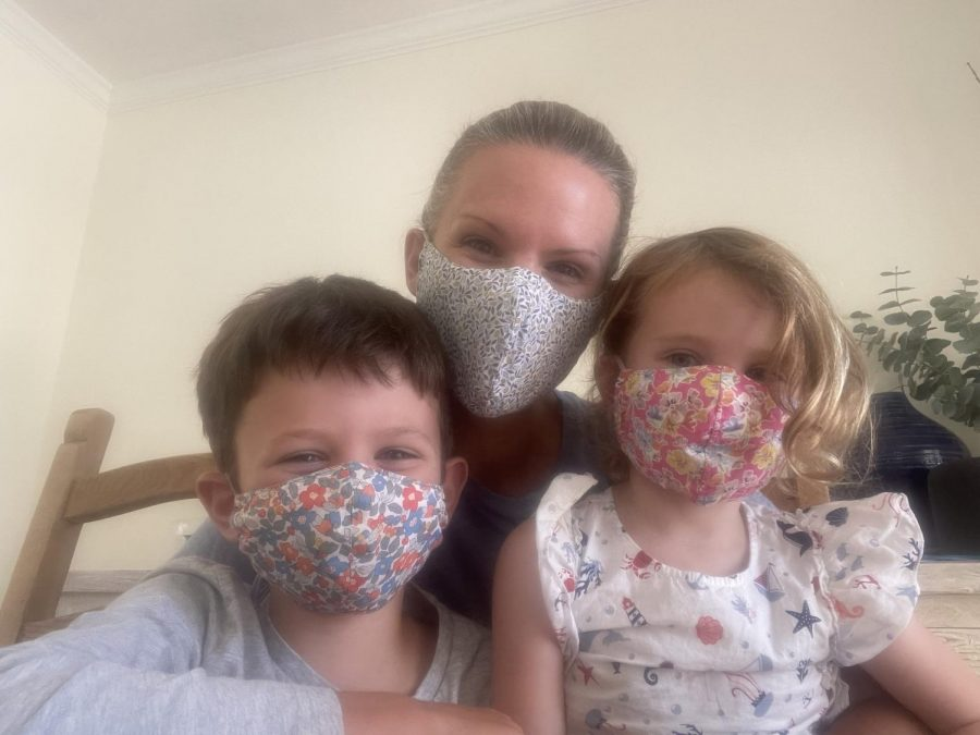 English Teacher Caitlin Hannon and her children quarantining at home. Hannon believes quarantining is necessary and that the community needs to be honest about the virus, so that getting through it can be easier.