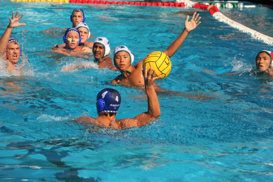 The+boys+varsity+water+polo+team+played+its+first+in-league+game+of+the+season+Tuesday%2C+September+7%2C++against+the+Harker+School.+