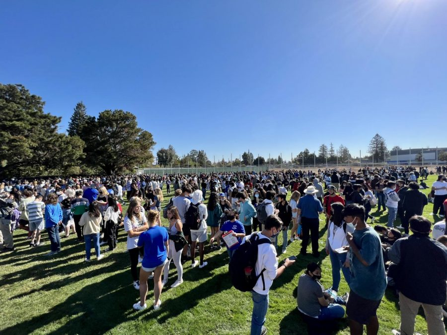 Students evacuate to the baseball field following a bomb threat at LAHS.